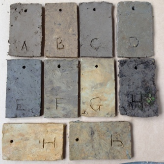 Clay sample test tiles - unfired