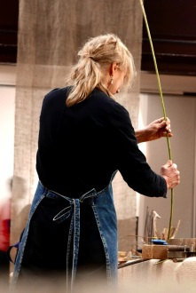 Making Ground at Fabrica Gallery, Brighton February 2017 - Alice Kettle working during the residency - photography by Jo Crowther