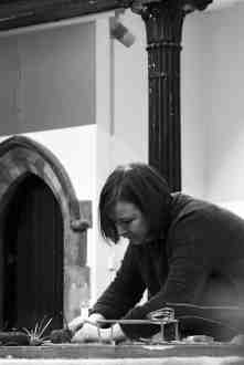Making Ground at Fabrica Gallery, Brighton February 2017 - Elaine Bolt working during the residency - photography by Jo Crowther
