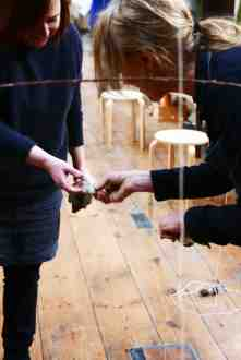 Making Ground at Fabrica Gallery, Brighton February 2017 - Alice Kettle and Elaine Bolt working during the residency - photography by Jo Crowther