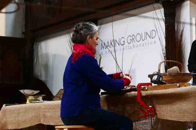 Making Ground at Fabrica Gallery, Brighton February 2017 - Annemarie O'Sullivan working during the residency - photography by Jo Crowther